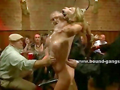 Blonde bride gets fucked by several burglars on her wedding night and fucked all of her tight holes