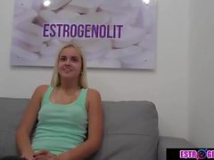 Blonde teen is sitting to the doctor's bosom