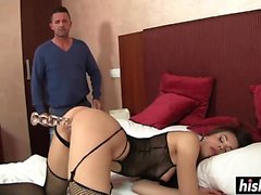 Amazing Abrill Gerald in fishnets gets slammed