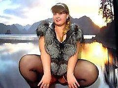 fluffy girl in stockings, pissing cancer