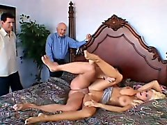 Enchanting blonde wife with amazing big tits enjoys hot cuckold action