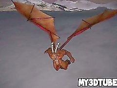 Pelirrojo 3D pone duro jodido por un dragón con cuernos