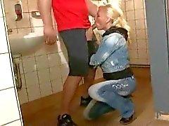 Blonde german MILF in all holes on public toilet