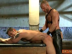 Muscle gay bound and facial cum