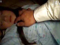 Sleeping brunette teen girl gets cumshot