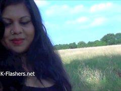 Intian amatöörien Kikis julkisen alastomuuteen ja ulkoilman masturbaatio pullea