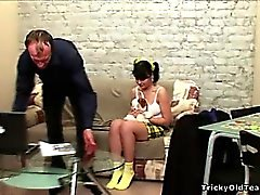 Hot black-haired young chick gets licked by her old teacher