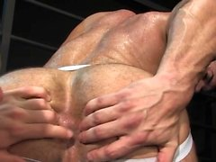 Muscle gay flip flop and anal cumshot