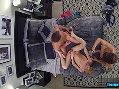 Brunette twink threesome with cumshot