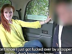 Sexy amateur red haired chick stuffed in the backseat