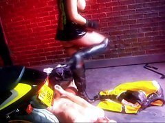 Biker chicks in leather fuck wildly outside a club