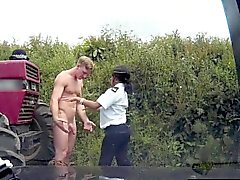 Ebony fake cop spitroasted in outdoor trio