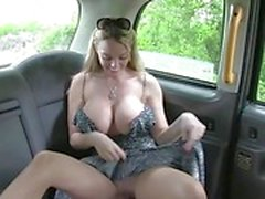 Big juggs passenger railed in the taxi
