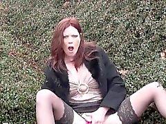 Redhead milf Holly Kiss public masturbation