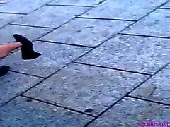 Oför Bus Stop Shoeplay Feet Nyloner Strumpbyxa två
