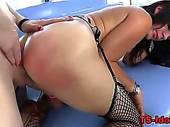 Rammed shemale gets ass toyed