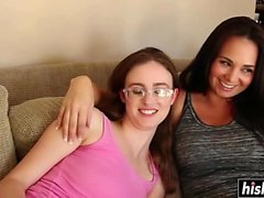 Horny mom seduces her nerdy stepdaughter