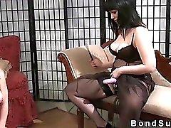 Bbw mistress with strap on fucks brunette sub