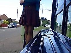 brown ruffle breezy upskirt part 1
