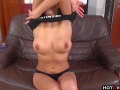 Raven haired euro solo fingering