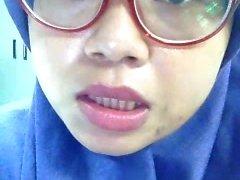 Indonesian menina muçulmana idda fingering escritório washroom-P2