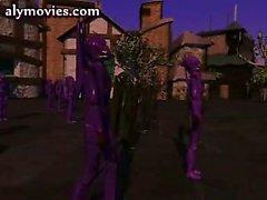 Violetas hembra el hentai cabellos frotamiento