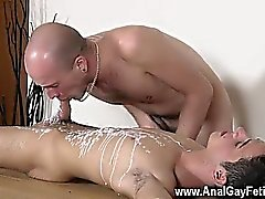 Gay jocks Brit youngster Oli Jay is bound down to the table,