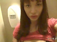 Mariana Cordoba in a public restroom