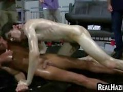 College students wrestle and the loser gives head