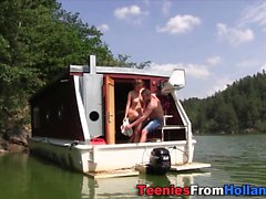 Teen cum sprayed on boat