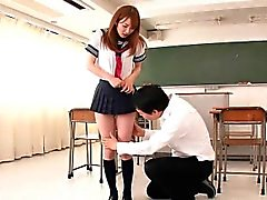 Japanese schoolgirl facialized in classroom