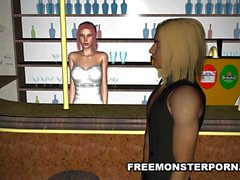 Tetona 3D Redhead jodida por un zombi