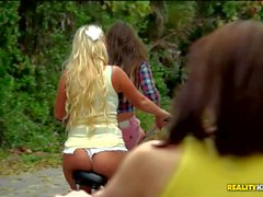 Molly Cavalli and Rachel Roxxx have Lesbian Sex after bicycle ride