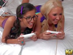 Molly Cavalli and April O'Neil have sex in bed after