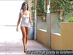 Cute brunette Annalisa masturbates in public