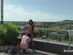 Real German Amteur Teen in Outdoor Threesome with Stranger