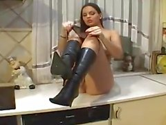 eve angel masturbating in the kitchen