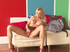 Teen blonde, Jana Jordan with small tits finds it fascinating pleasuring herself passionately at her home