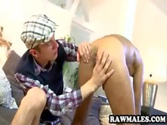 Hot tanned hunk gets his ass fucked bareback