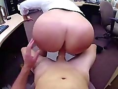 Amateur MILF gets facial for pawn cash on spy cam
