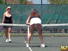 Molly Cavalli and Allie Haze play tennis and have Sex