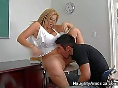 Busty Professor Sara Jay with wet bald pussy