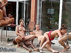 Outdoor group fucking