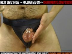 Very hairy & wet male 8 inch cock masturbation with rubber pussy cumshot HD