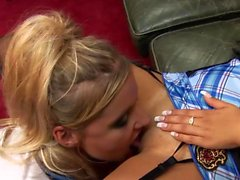 Horny lesbians in lingerie pleasure one another