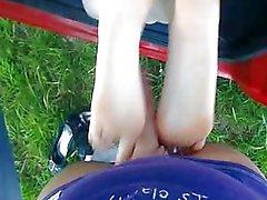 German amateur teen first footjob cumshot