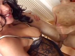 Shemale pumps up cock for a fuck