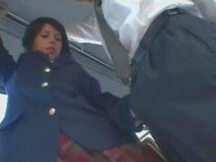 Lexi Belle Swallows Huge Japanese Load On Bus In Japan