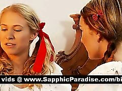 Angelic Redhead y el rubias de Lésbos besarse y lamiendo