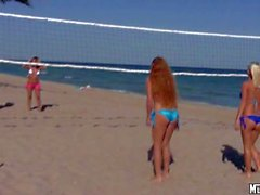 Molly Cavalli playing beach volleyball with sexy girls